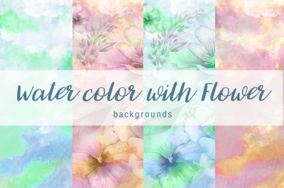Water color with flower background Vol.2
