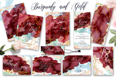 Burgundy and Gold Watercolor Wedding Invitation suite Vol.1