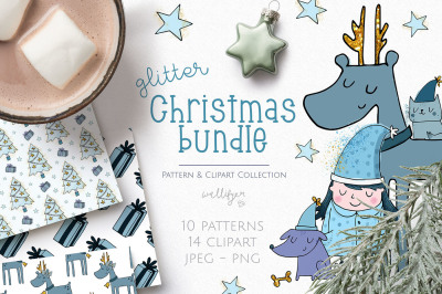 Christmas clipart and pattern bundle