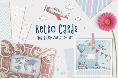 Set of retro cards. Transportation.
