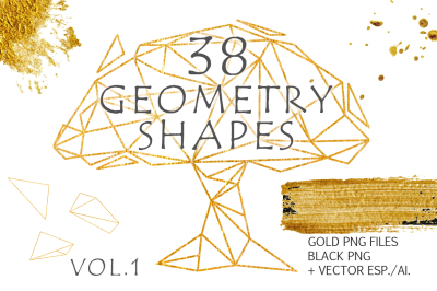 Gold Geometry shapes Vol. 1