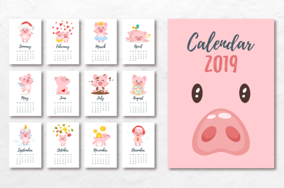 2019 calendar with cartoon pigs