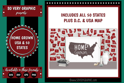 Home Grown USA 50 States Map SVG | EPS | PNG | DXF