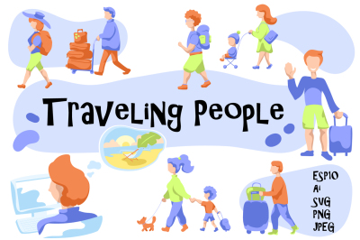Traveling People Vector Illustration