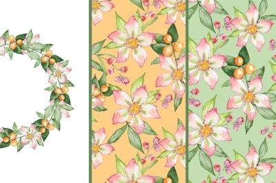 Blooming garden Set 2. Watercolor