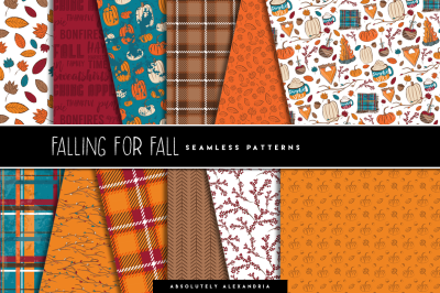 Falling For Fall Clipart Illustrations & Seamless Paper Patterns Bundl