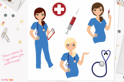 Woman nurse character clipart (L373 Georgia)