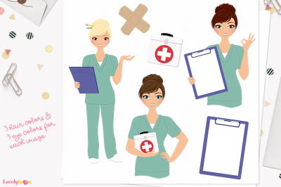 Woman nurse character clipart (L391 Juliet)