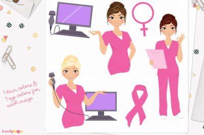 Woman nurse character clipart (L393 Carly)