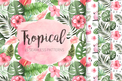 15 Watercolor Tropical Patterns Set