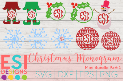 Christmas Monogram Designs Mini Bundle Part 1 | SVG, DXF, EPS, PNG
