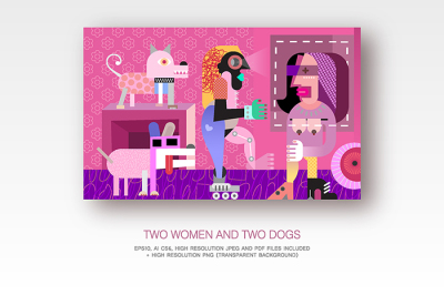 Two women and two dogs fine art