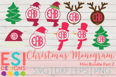 Christmas Monogram Mini Bundle Part 2 | SVG, DXF, EPS, PNG