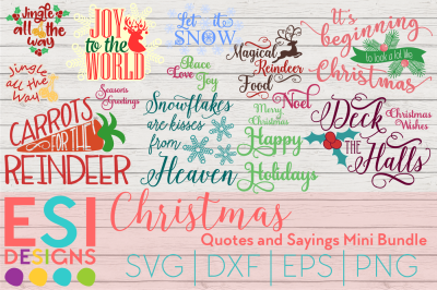 Christmas Quotes and Sayings Mini Bundle | SVG, DXF, EPS, PNG