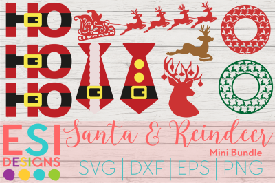 Santa and Reindeer Mini Bundle | SVG, DXF, EPS, PNG
