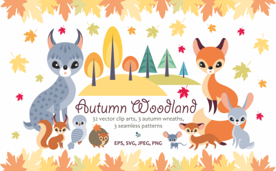 Autumn woodland. Vector animals and plants.