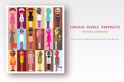 Cartoon people portraits, flat style avatars bundle