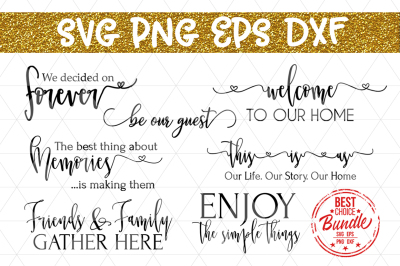 Home Decor Bundle SVG File, Rustic Sign Sayings, DXF, PNG