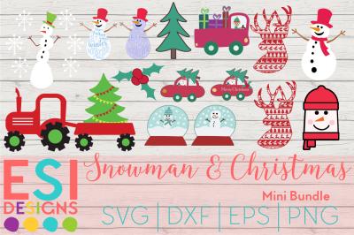 Snowman and Christmas Mini Bundle | SVG, DXF, EPS & PNG