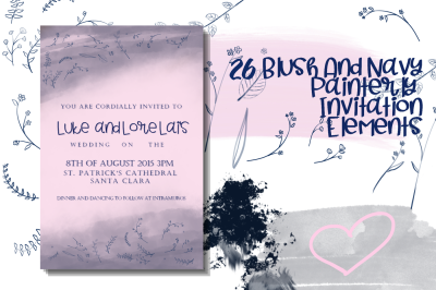 26 Blush and Navy Invitation Elements