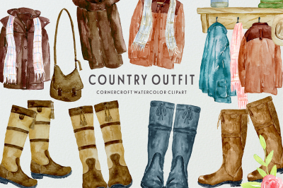 Watercolor Country Coats and Country Boots