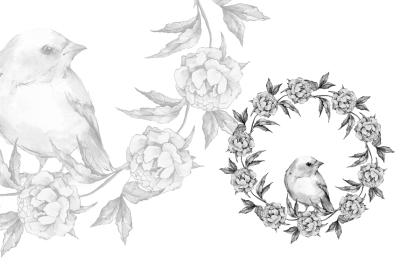 Bird and wreath