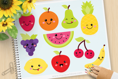 Cute Kawaii Fruit SVG Vector Clipart