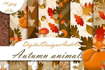 Autumn animals digital paper