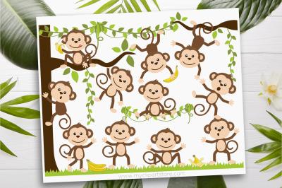 Little Monkeys SVG Clip Art