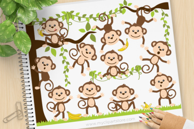 Monkey Around Vector SVG Clip Art