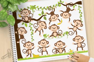 Monkey Around Vector SVG Clip Art