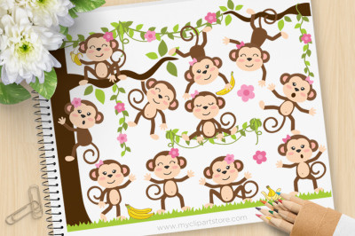 Monkey Girls Vector SVG Clip Art