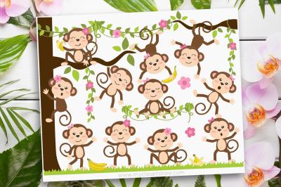Girl Monkey SVG Clipart
