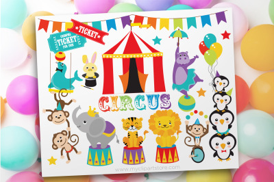 Circus Animals Clipart, Vector, Sublimation, SVG