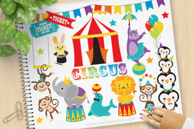 Circus Animals SVG Vector Clip Art