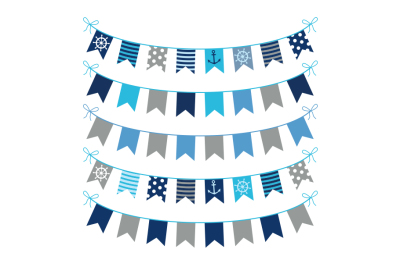 Gray blue nautical bunting clipart, Marine birthday banner clip art