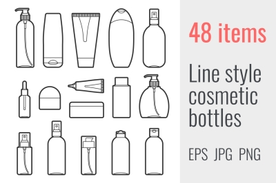 48 line style cosmetic bottles