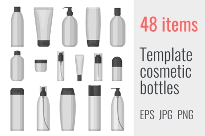 48 template cosmetic bottles