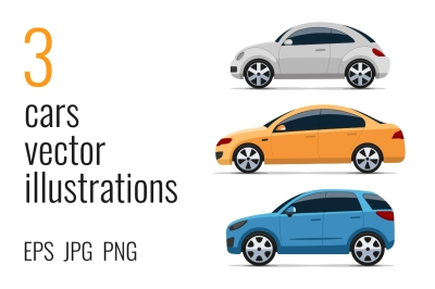 Colorful cars illustrations
