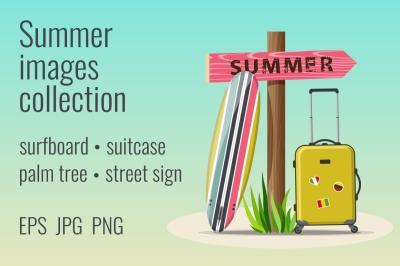 Summer holidays travel illustrations