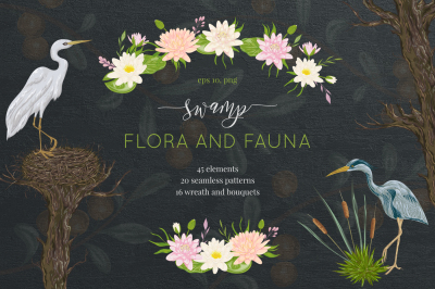 Swamp flora and fauna