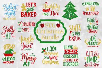 Funny Christmas Quotes Bundle - SVG, EPS, DXF, PNG