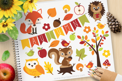 Autumn Critters / Forest Animals Vector SVG Clip Art