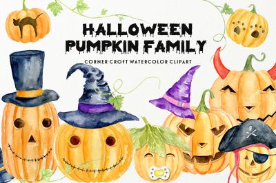 Halloween pumpkin family clipart