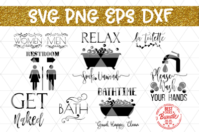 Bathroom Decor Bundle SVG File, Sign SVG, EPS, DXF, PNG,