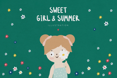 Sweet little girl and summer