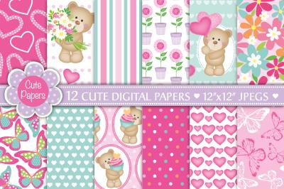 Cute bear digital papers, Bear patterns, Cute bears, Butterfly pattern
