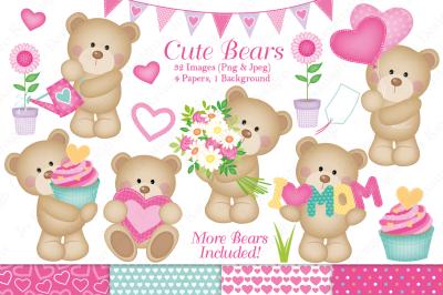 Cute bear clipart, Cute bear graphics & illustrations, Bears