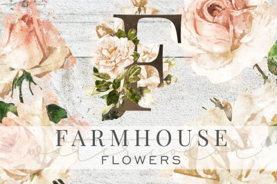 Farmhouse Watercolor Flowers & Monograms