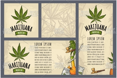 Set template posters Marijuana. Vintage vector engraving